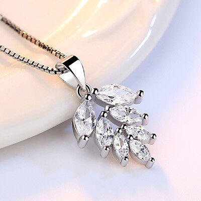 Solid 925 Silver Inlay Oval Zircon Leaf Pendnat Necklace For Women Mother's Day