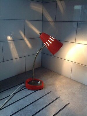 Vintage Desk Lamp Pifco 971 Gooseneck Orange Slotted Shade Metal 1950s Retro MCM