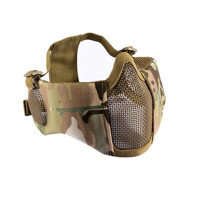 OneTigris Tactical Airsoft Foldable Half Face Metal Mesh Mask w/ Ear Protection