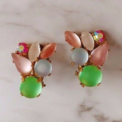 Vintage Germany Art Deco Frosted Moonglow AB Pastel Fruit Salad Clip Earrings