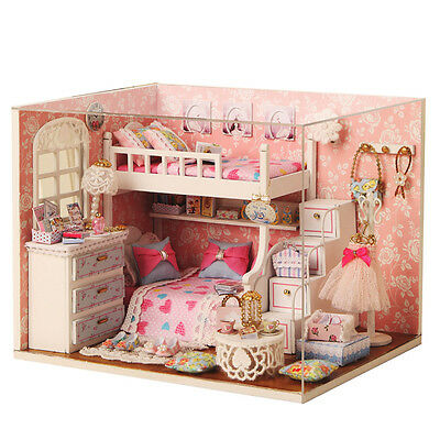 DIY Wood Dollhouse miniature with Furniture Doll House Room Angel Dream Kits au.
