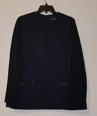 NWOT Estelle and Finn Long Sleeve Womens Stretch Tunic Top Navy / Black sz 12
