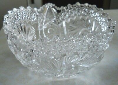 Vtg American Brilliant Period Hand Cut Glass  Bowl Fan Design And Saw Tooth Edge