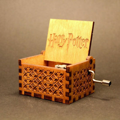 1PC New Hand-cranked Engraved Wooden Music Box Harry Potter Creative Toys Gift