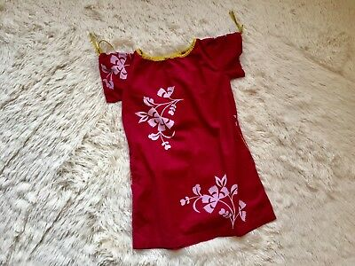 Tea Collection Shift Dress Pink Hawaiian Floral Print Girl Size 6