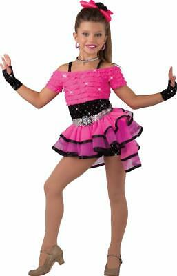 Dance Costume SMall Child Pink 2in1 Jazz Tap Hip Hop Solo Competition Pageant
