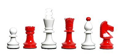 """The Hungarian Chess Set - Pieces Only - 3.875"""" King - Red & Ivory Lacquered"""