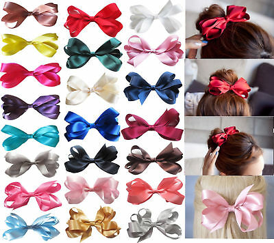 """6"""" Large Handmade Girls Ribbon Boutique Ponytail Hair Bun Bow Clips Accessories"""