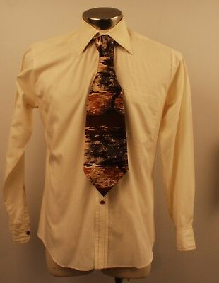 MEDIUM, ORIGINAL VINTAGE 1970s MENS LONG SLEEVE SHIRT & TIE.
