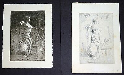 """2xRare '31 Chinese Etching Prints """"Model inside the Studio"""" by Hon Chew Hee (Hee"""