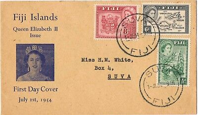 Fiji 1954 Qeen Elizabeth Ii & Map First Day Cover
