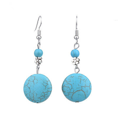 Bohe Antique Silver Retro Vintage Turquoise Round Flower Drop Earrings For Women