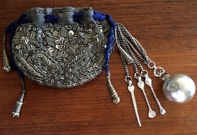 Rare Late 1800's Opium Pouch Bag & Tools Metallic Embroidered Turkish Ottoman