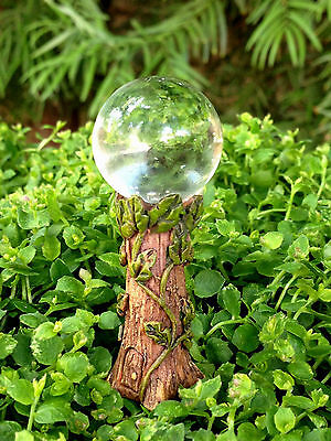 Miniature Dollhouse FAIRY GARDEN ~ Gazing Ball Pick w Clear Glass & Vine Detail
