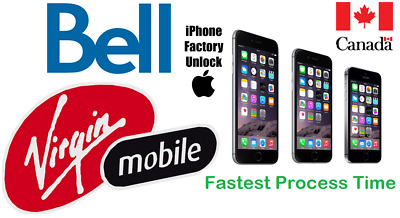 Bell / Virgin Unlock By Imei All Iphone Models 4/4S/5/5S/5C/se/6/6+/6S/6S+/7/7+8