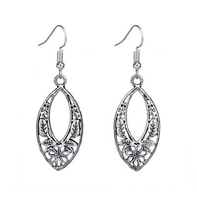 Vintage Antique Silver Hollow Out Filigree Flower Plant Drop Earrings For Women