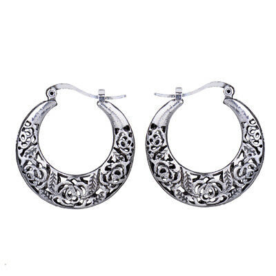Retro Vintage Anqitue Silver Hollow Filigree Flower Hoop Earrings For Women Bohe
