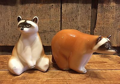 Pair Of Vintage USSR Soviet Russian Lomonosov Porcelain Figurines Raccoons