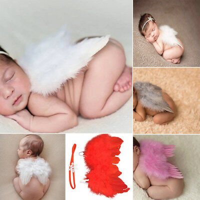 Newborn Baby Angel Wings + Headband Flower Costume Photo Photography Prop Outfit