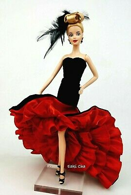 Black Red Evening Dress Outfit Clothes Silkstone Fashion Royalty Model Muse FR