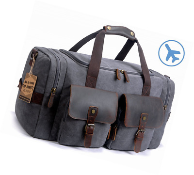 4bd7c4944b SUVOM Leather Canvas Duffle Bag Weekend Overnight Bag Travel Tote Duffel  Luggage