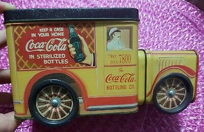1995 Coca Cola Tin Truck Container With 3 Cloth Handkerchiefs Inside Mint