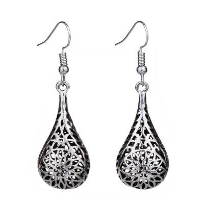 Retro Vintage Silver Hollow Out 3D Water Drop Dangle Earrings For Women Lady