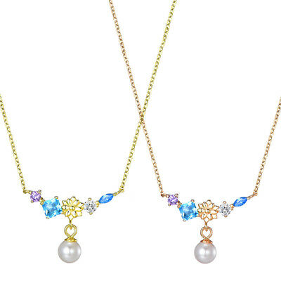 Women S925 Sterling Silver Crystal Pearl Pendant Necklace Gold Chain Jewelry