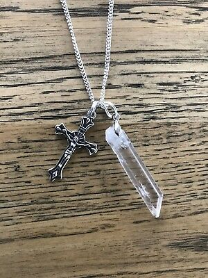 Raw Clear Quartz crystal with Crucifix Christ Cross long silver necklace