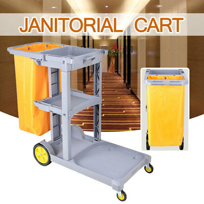 Commercial Housekeeping Janitorial Cart with Vinyl Bag without Cover Gray