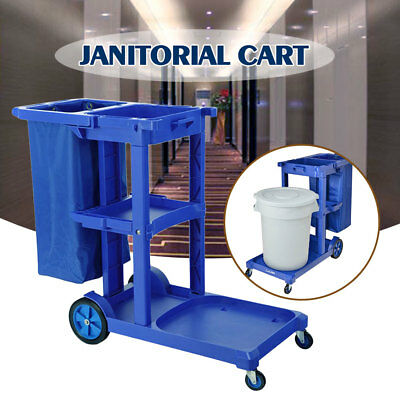 US STOCK Commercial Housekeeping Janitorial Cart with Bag without Cover Blue