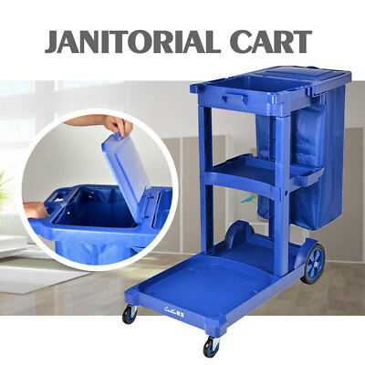 US STOCK Commercial Housekeeping Janitorial Cart with Vinyl Bag with Cover Blue