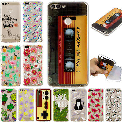 For Huawei P Smart P20 Lite Y9 2018 Shockproof Soft Painted TPU Back Case Cover