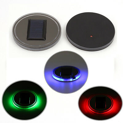 3 Colors Solar Cup Holder Bottom Pad LED Light Cover Atmosphere Lamp For All car