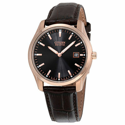 "Citizen Men's AU1043-00E ""Eco-Drive"" Stainless Steel Watch Brown Leather Band"