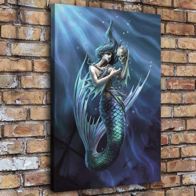 "12""x18""Mermaid Holding Skull Home Decor Room HD Canvas Print Picture Wall Art"