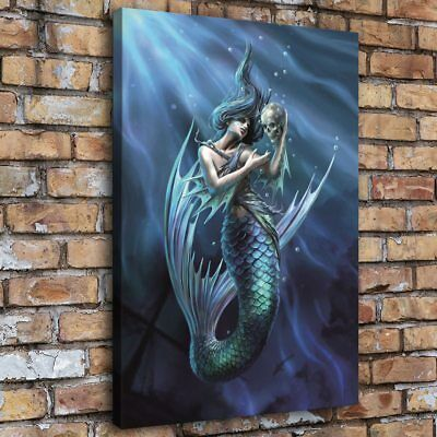 Mermaid Holding Skull Home Decor Room HD Canvas Print Picture Wall Art Painting
