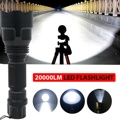 Ultra Bright 20000LM Zoomable Tactical Police 5 Modes T6 LED Flashlight Torch