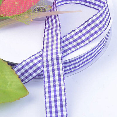 3 Yards Ivory Country Gingham Plaid Wired Ribbon 3 colors