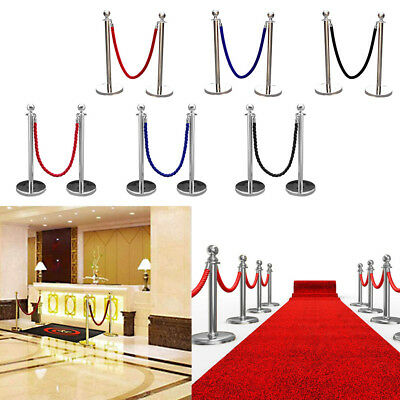 2xPolished Steel Queue Rope Barrier Stands Twisted Rope/Belt Stanchion Set Hot