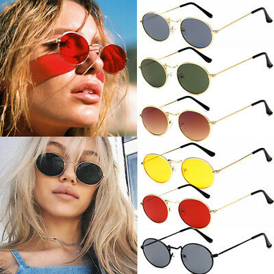 Women Men Vintage Small Oval Metal Frame Sunglasses Retro Shades Trendy Glasses
