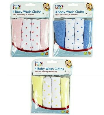 First Steps 4 or 8 Pack Baby Wash Cloths Towels Newborn Birth Pink Blue & Lemon