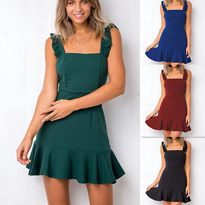 Womens Summer Holiday Sleeveless Strappy Frill Beach Dress Ladies Casual Dress