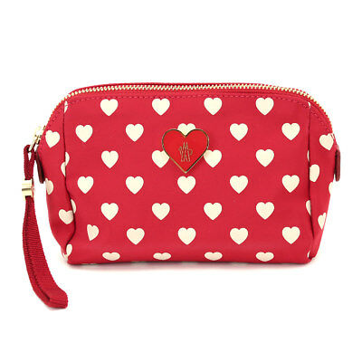 Auth MONCLER Heart pattern Pouch Nylon Red 90046323