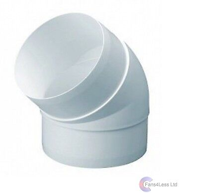 """Ducting 45 Degree Elbow Joint Bend Ventilation Duct Pipe 5"""" 125mm Extractor Fan"""