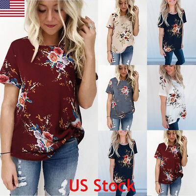 US Womens Summer Floral Tops Blouse Ladies Casual Short Sleeve T-Shirt Fashion