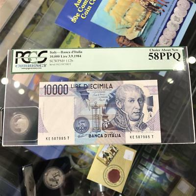 Bank of Italy 10,000 Lire 1984 Banknote PCGS Ch aNew 58 PPQ A. Volta P.112b