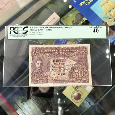 Malaya British Administration 50 Fifty Cents 1941 Banknote PCGS EF40 P10a