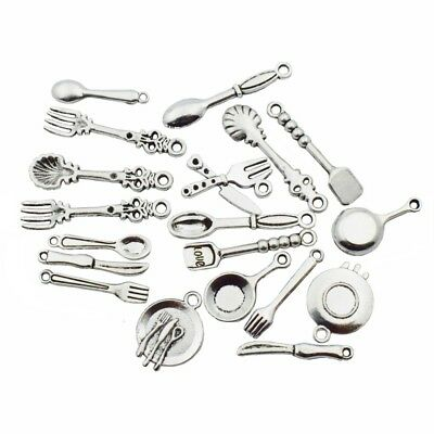 98 PCS Tableware Charms Silver Cooking Cook Knife Fork Plate Pan Spoon Pendants