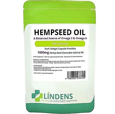 Hemp Seed (hempseed) Oil 1000mg healthy hair, skin & brain 200-capsules Linden